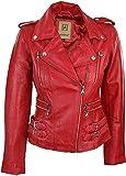 Aviatrix. Chaquetea para mujer de cuero auténtico, diseño retro, color rojo rojo XXL