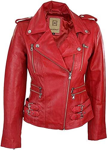 Giacca da donna in vera pelle, rossa, da Biker, taglio corto Rot XL