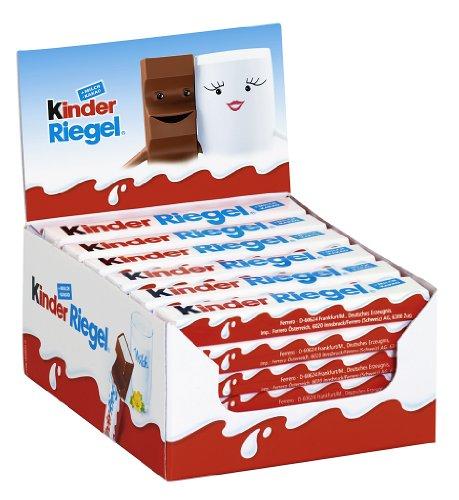 kinder Riegel - 36 Einzelriegel, einzeln verpackte Schokoriegel, zartschmelzende Vollmilchschokolade mit Milchcremefüllung, ohne Farb- und Konservierungsstoffe