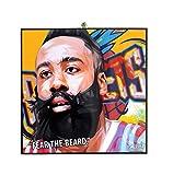 Pop Art Famous Basketball Player Quotes [ James Harden ] Framed Glossy Acrylic Canvas Fan Art Poster Prints Artwork Modern Wall Decor, 10'x10'