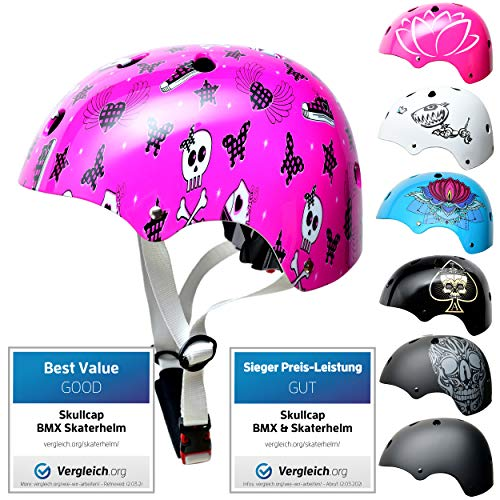 Skullcap® Skaterhelm Kinder Pink Pinky Punk - Fahrradhelm Mädchen ab 6 Jahre Größe S (53-55 cm) - Scoot and Ride Helmet Kids - Skater Helm für BMX Scooter Inliner Fahrrad Skateboard Laufrad