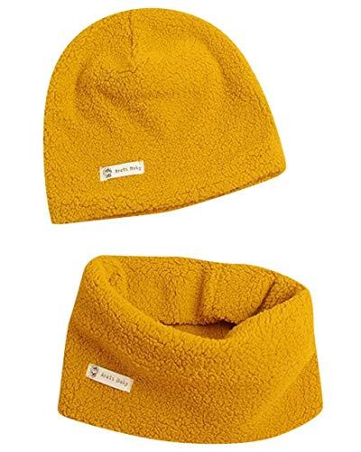 Heekpek - Juego de gorro y bufanda para bebé, gorro de punto para bebé, algodón, gorro y bufanda para bebé, cálido y grueso amarillo L
