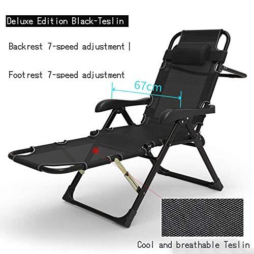 N /A Chaise longue réglable extra large et multifonction, chaise de camping pliante légère et portable (couleur : 1), 3