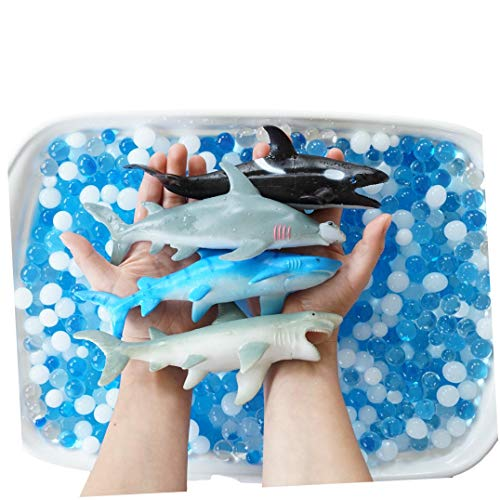 SENSORY4U Ocean Water Beads Swimming with Sharks Sensory Kit - Large Shark Toys Included - Dew Drops Offer Great Fine Motor Skills and Sensory Bin Kit for Kids