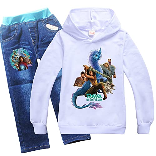 Proxiceen Raya - Sudadera con capucha y pantalón vaquero para niño y niña A2. 150 cm