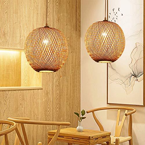 Moderne Pendelleuchte, Bambus Hängelampe für Esstisch, Höhenverstellbar Hängeleuchte, E27 Schraube Lampenhalter, Kreativ Holz Käfig Pendellampe für Esszimmer Schlafzimmer und Wohnzimmer,C
