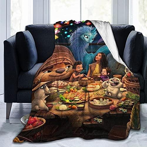 Oneposy Superweiche Ray-a and the Last Dragon Decke, Schlafsofa, Bettdecke, geeignet für Geburtstag für Freunde und Verwandte, 127 x 101 cm