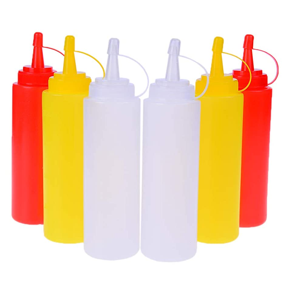 Condiment Squeeze Bottles, Haomian 6 Pack 8oz/200ml Plastic Ketchup Squeeze Bottle for Syrup, Syrup, Ketchup, Oil, BBQ, Condiments, 3 Colors