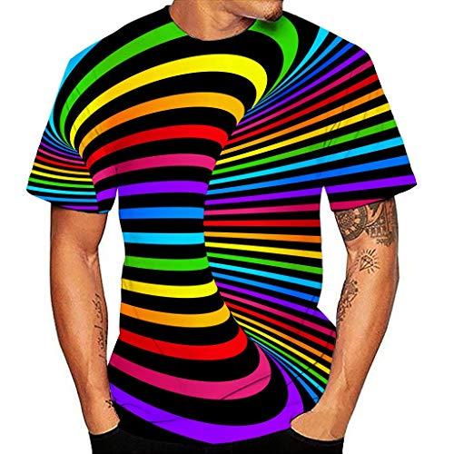 Schwindel Regenbogen 3D Print Kurzarmshirt XL Mehrfarbig 306567 (Long Herren t Shirt mit Knopfleiste Hawaii Hemd Herren t Shirts ärmellos Poloshirt Weste Herren Hochzeit)