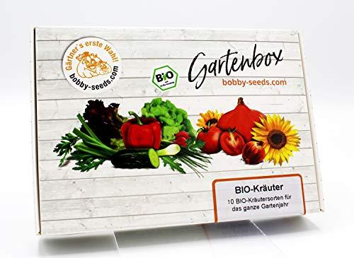 BIO-Kräuter Samen Set von bobby-seeds, 10 Sorten BIO-Kräutersamen als Set in repräsentativer Gartenbox, Samen-Set mit 10 Sorten und praktischen Stecketiketten