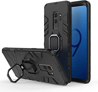 Compatible with Galaxy S9+ Case, Metal Ring Grip Kickstand Shockproof Hard Bumper Shell (Works with Magnetic Car Mount) Dual Layer Rugged Cover for Samsung Galaxy S9 Plus (Black)