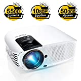 Vidéoprojecteur, ELEPHAS Rétroprojecteur Full HD Projecteur 5500 Lumens Soutien 1080P LED Compatible VGA HDMI AV USB Micro SD,...