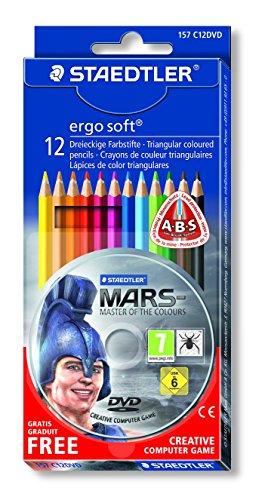 """Staedtler 157 C12DVD - Ergo Soft Farbstift, 12 Stück Kartonetui, inkl. Mal-Adventure Computerspiel """"Mars – Der Herr der Farben"""""""
