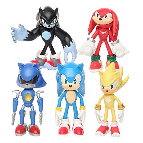 Mipojs 6Pcs / Set 12Cm Sonic Figures Toy, PVC Toy Sonic Shadow Tails Personajes Figura Juguetes para Niños Animales Juguetes