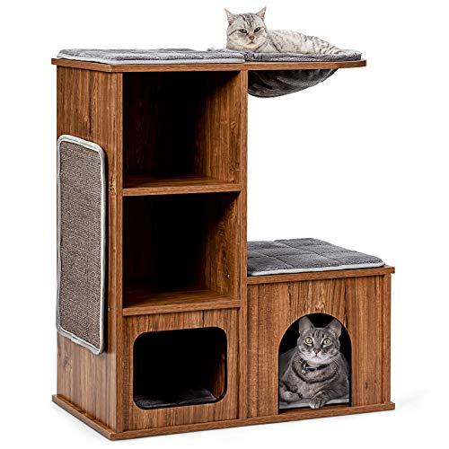 COSTWAY Katzenmöbel mit Höhle Matten, Katzen Spielhaus Holz, Katzenbaum Katzenhaus Kletterbaum, Kratzbaum Aktivitätsbaum 69x39x 80,5 cm