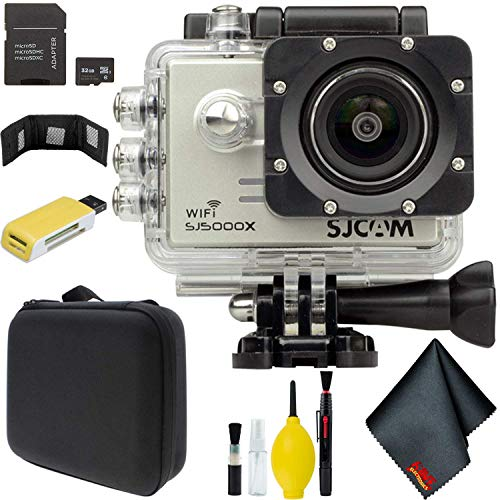SJCAM SJ5000X Elite 4K Action Camera (Silver) Bundle with Carry Case