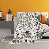 SPXUBZ Manta de franela para sofá cama, plantas vintage, ultra suave, acogedora manta para adultos o niños, 100 x 150 cm