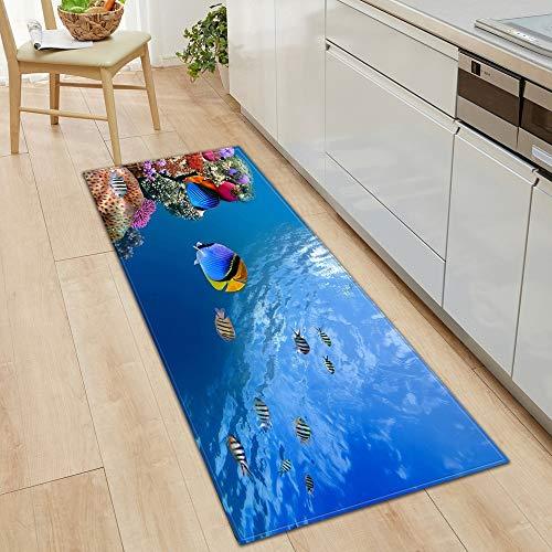 HLXX Alfombra de Piso de Cocina Ocean World Alfombra de Sala de Estar Alfombra de Puerta de casa Decoración de Piso de Dormitorio Alfombra Antideslizante de baño A12 50x160cm