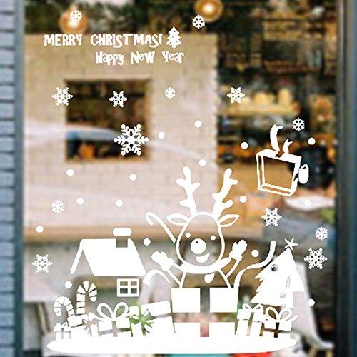 Kicode vetrofanie Albero di Natale Fiocco di neve Alce Slitta bianca pasta di vetro