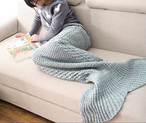 CASOFU Green and Gray Mermaid Tail Blanket,Kids Thick Mermaid Tail Blanket Snuggle Mermaid