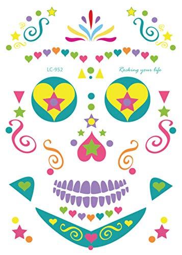 SGAHEIWI 10Pcs Maquillaje Facial de Halloween y diseño de máscara de Terror Tatuaje Temporal a Prueba de Agua para Hombres y Mujeres, f
