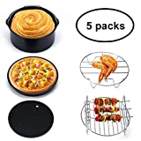 Ejoyous 7-in-1 Electric Air Fryer Deep Oven Cooker with Recipe, 2.6 Quart 1300 W, Time and Temperature Display, Touch Screen Control, Detachable Dishwasher washable Basket (Air Fryer Accessories)