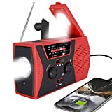 [2020 Premium Version] Emergency-Solar-Hand-Crank-Radio,Puiuisoul Portable NOAA Weather Radios with AM/FM, Alarm,Reading Lamp,2000mAh Power Bank(Red)