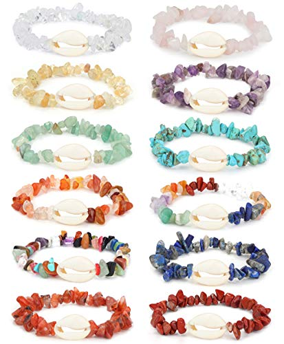 LOYALLOOK 12PCS Natural Chip Gemstone Beads Stretch Bracelets Healing Energy Chakra Crystals Polishing Crushed Irregular Strand Bracelets Conquer Fear/Increase Communication Reiki (Gemstone Chip Bracelet)