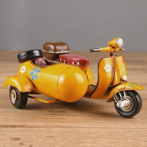 DNSJB Motorcycle Side Car Metal Model Retro Three Wheeled Motorcycle Iron Handicrafts Birthday Presents Home Decor Figurines Decorative Bedroom Bookshelf (Color : Yellow)