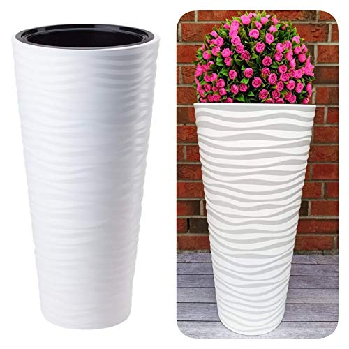MELTOM Macetero redondo fino con efecto 3D – Ondas – Color: blanco con pieza extraíble, diámetro x altura: 35 x 68,5 cm