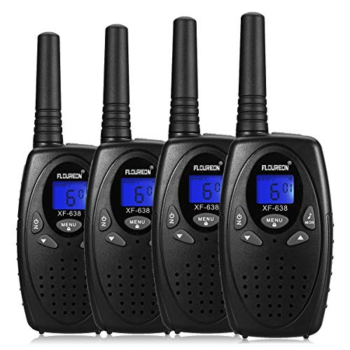 FLOUREON 4 Packs Walkie Talkies Two Way Radios 22 Channel 3000M (MAX 5000M Open Field) UHF Long Range Handheld Talkies Talky (Black)
