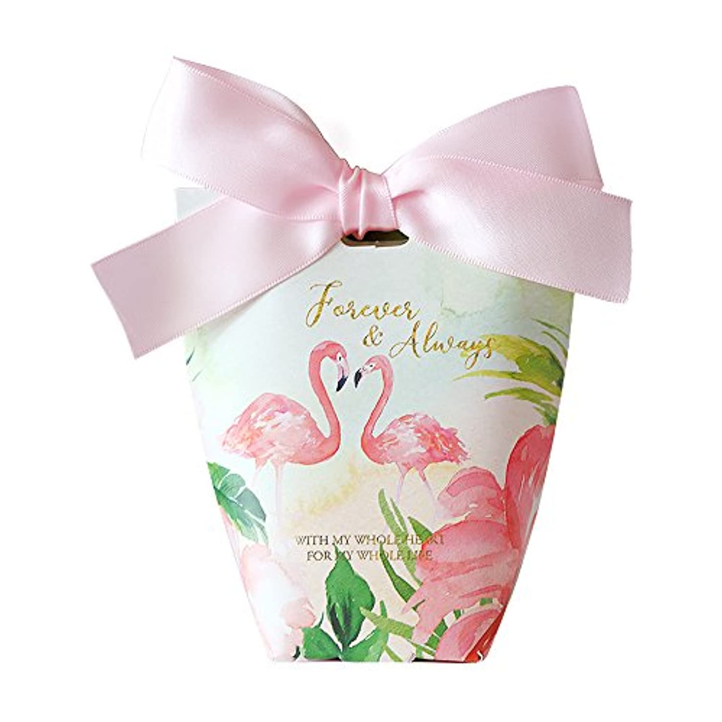 Colias Wing 50 pcs Adorable Flamingo Pattern Wedding Birthday Party Favor Candy Boxes with Ribbon-Medium-Pink