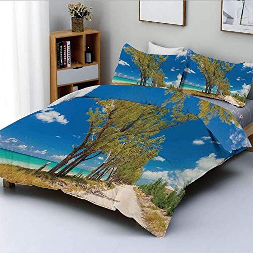 Juego de Funda nórdica, Imagen Impresionante de Algunos árboles Seacoast, Antiguo Paisaje arcaico idílico de Playa, Juego de Cama Decorativo de 3 Piezas con 2 Fundas de Almohada, Crema Azul Verde, el