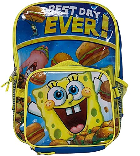"Spongebob SquarePants 16"" Backpack with Matching Lunch Bag Bonus Stationery Set"