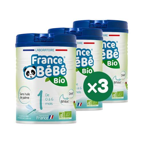 FRANCE BéBé BIO - Lait infantile pour bébé 1er âge en poudre 0 à 6 mois - Lait fabriqué en France - BIFIDUS - SANS HUILE DE PALME - Pack 3 boîtes de 800g