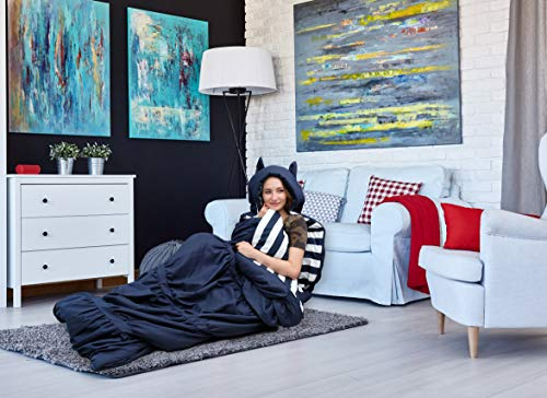 Chic Home Skai Schlafsack mit Katzenohren-Kapuze, gerüscht, gerüscht, mit gestreiftem Innenfutter, für Kinder, Jugendliche und Junge Erwachsene, Reißverschluss, 32 x 190,5 cm, 32 x 75 cm, Marineblau