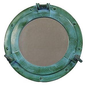 11″ Aluminum Porthole Mirror – Green a...