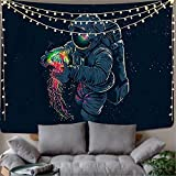 Space Tapestry,Galaxy Tapestry,Trippy Astronaut Tapestry,Hippie Wall Tapestry,Fantasy Colorful Jellyfish Blacklight Psychedelic Universe Stars Tapestry for Bedroom Living Room Dorm (79'L X 59'H)