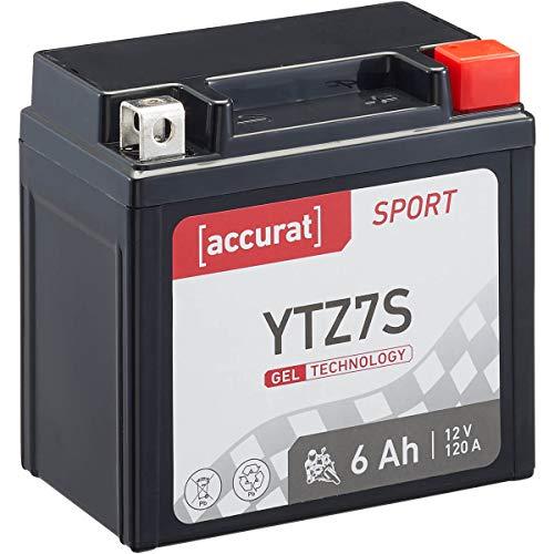 Accurat Motorradbatterie Sport Sport YTZ7S 6 Ah 120 A 12V Gel Technologie Starterbatterie in Erstausrüsterqualität zyklenfest sicher lagerfähig wartungsfrei