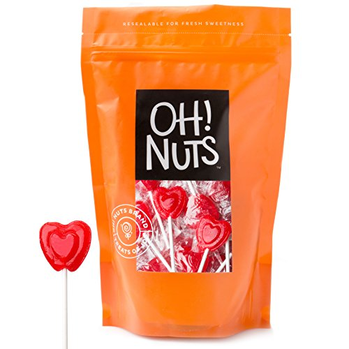 Valentines Day Candy Cherry Lollipops - Large Bulk Red Heart Shaped Hard Candy Pop Suckers (1 LB BAG)