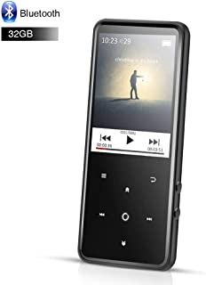 AGPTEK 32GB Bluetooth MP3 Player with 2.4 Inch TFT Color Screen, FM, Voice Recorder Lossless Sound Touch Button Music Player, Support Up to 128GB, Black, C2H