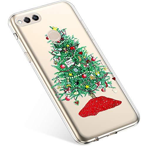 Uposao Kompatibel mit Handyhülle Huawei Honor 7X Hülle Transparent Silikon Ultra Dünn Schutzhülle Durchsichtig Handyhülle Kristall Weiche Silikon TPU Handytasche Rückschale,Grün Weihnachtsbaum