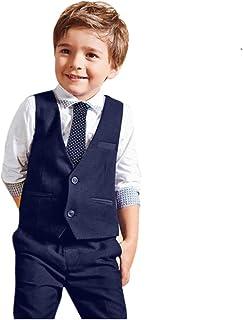 2bab63d60a61e Tefamore Bébés garçons mariage Gentleman Costumes Chemises + Gilet +  Pantalons longs + Cravate Vêtements (