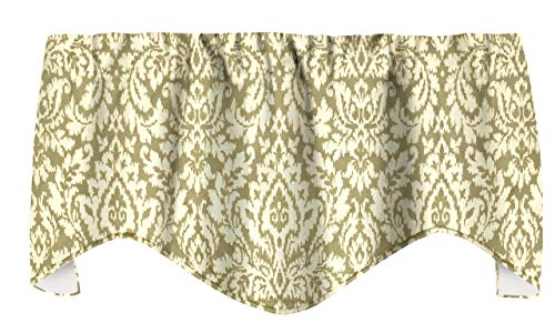 Gold Curtains Valence Curtains, Living Room Curtains, Living Room, Window Treatments, Off White and Gold Waverly Fabric Damask Print 53'x18'