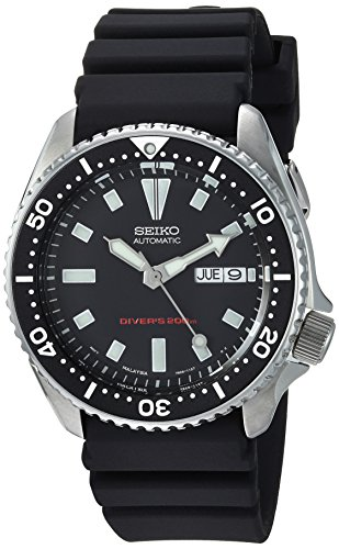 Seiko Men's SKX173 Stainless Steel and Black Polyurethane Automatic Dive...
