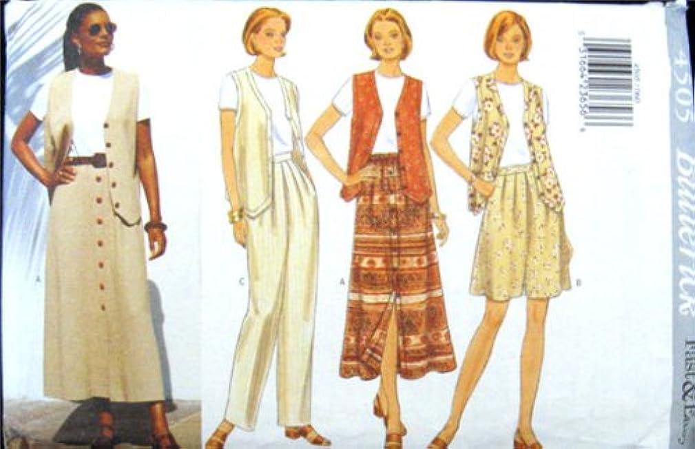 Butterick Sewing Pattern 4505 Misses'/ Misses' Petite Vest, Top, Skirt, Shorts & Pants, Size 6 8 10