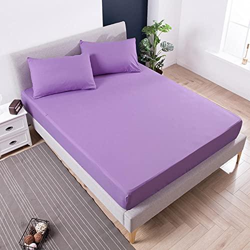 XGguo Protector de colchón Transpirable.Rizo Bambú. Sábana Impermeable para mojar la Cama Paquete Completo-púrpura_120X200 + 30CM