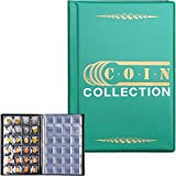 Coin Collection Holder Album 288 Pockets Book for Collectors, Coins Collecting Supplies Storage Organizer Fits for 20/25/27/30mm Coins, Penny, Quarters, Tokens, Medallions Display Case.-Green
