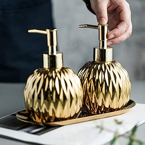 ZHQHYQHHX Set di accessori da bagno in acciaio inox vassoio ceramica lavaggio a mano liquido doccia gel bottiglia sapone dispenser bagno accessori set (colore: oro, dimensioni: libero)