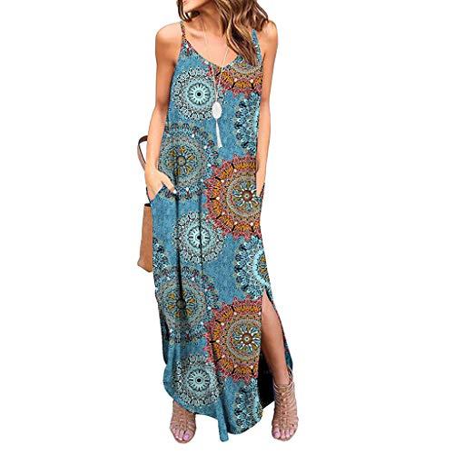 Zegeey Damen Kleid Sommer Kurzarm Schulterfrei Einfarbig Blumenkleid Maxi Kleid A-Linie Kleider Vintage Elegant LäSsige Kleidung Rundhals Basic Casual Strandkleider(W1-Blau,M)
